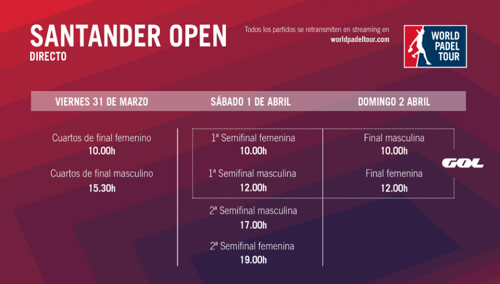 Horarios del streaming del World Padel Tour Santander Open 2017