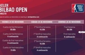 Horario del streaming del World Padel Tour Keler Bilbao Open 2017