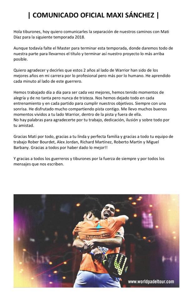Maxi Sánchez y Matías Díaz separarán sus caminos después del Estrella Damm Master Final 2017