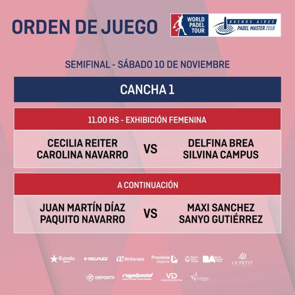 Horarios de las semifinales del Buenos Aires Padel Master 2018