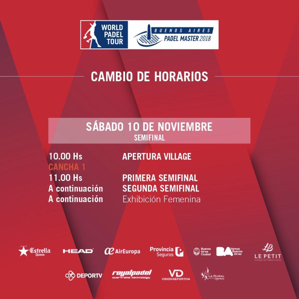 Cambio en el horario de las semifinales del Buenos Aires Padel Master 2018