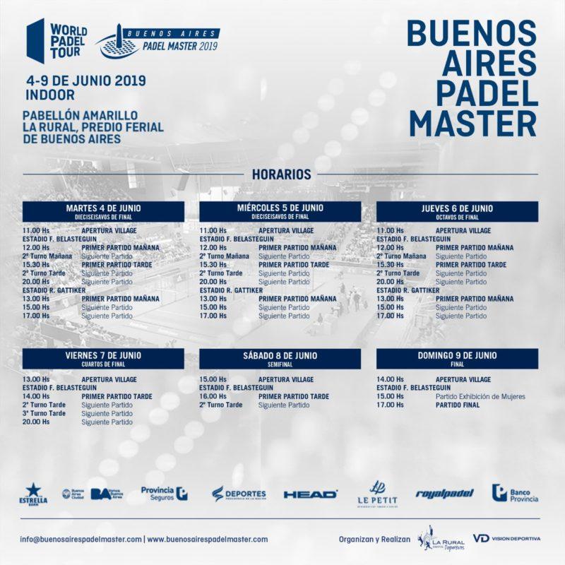 Horarios del Buenos Aires Padel Master 2019