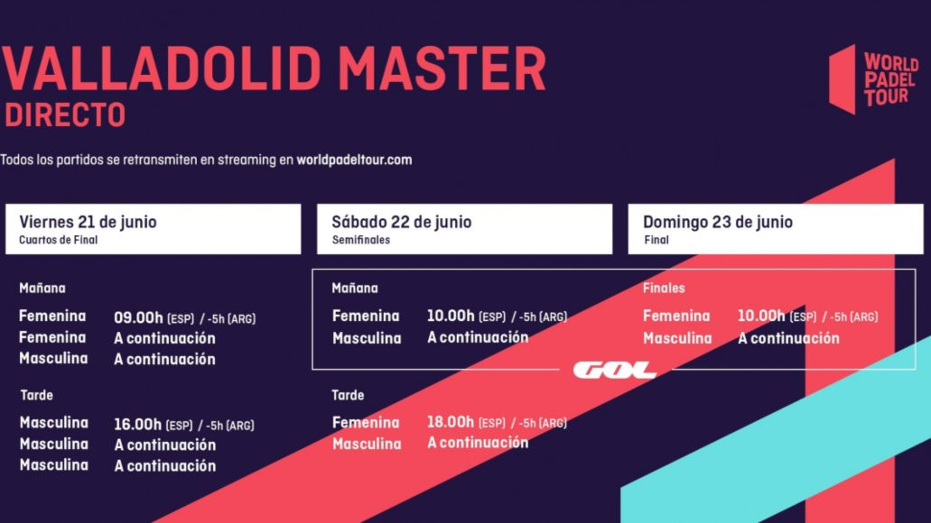 Horarios del streaming del World Padel Tour Valladolid Master 2019