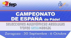 En directo las finales del Campeonato de España de Pádel por Selecciones Autonómicas Absolutas 2019