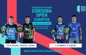 En directo los cuartos de final masculinos del Cervezas Victoria Córdoba Open