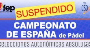 La FEP suspende el Campeonato de España de Selecciones Autonómicas Absolutas