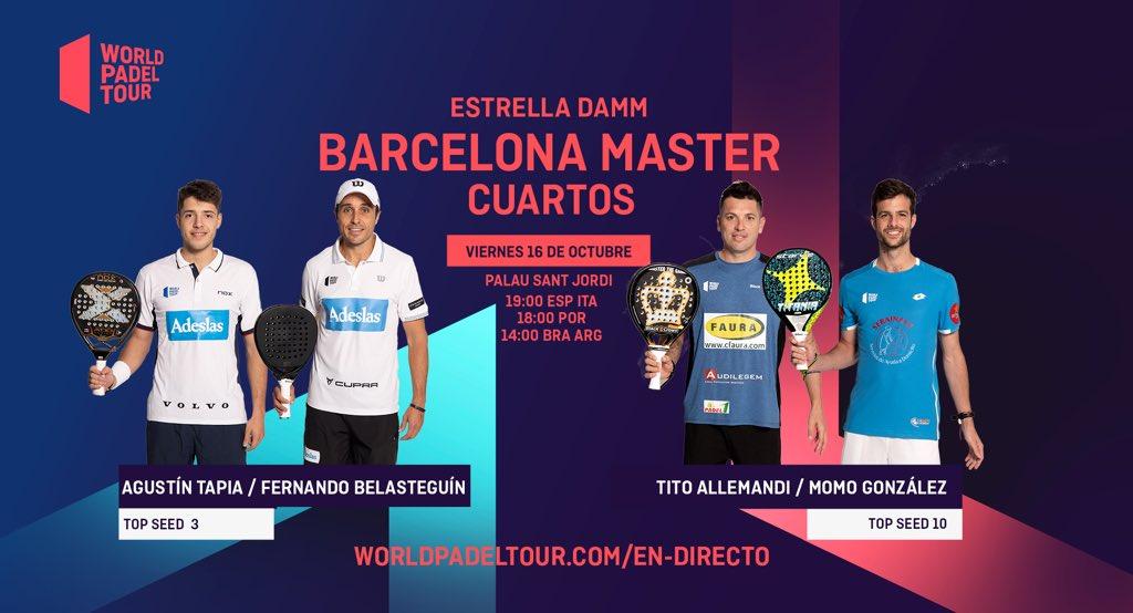 En directo los cuartos de final masculinos del Estrella Damm Barcelona Master 2020
