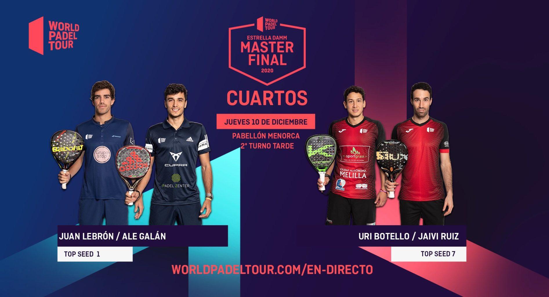 En directo la jornada de tarde del jueves de los cuartos de final del Estrella Damm Menorca Master Final 2020