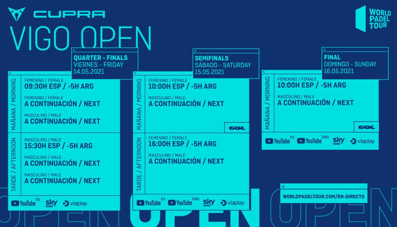 Horarios del streaming del Cupra Vigo Open 2021