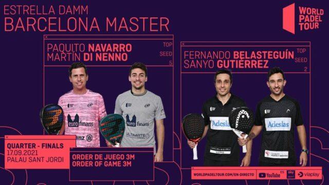 En directo los cuartos de final masculinos del Estrella Damm Barcelona Master 2021