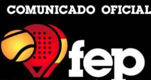 Comunicado de la FEP sobre el pádel en las distintas fases