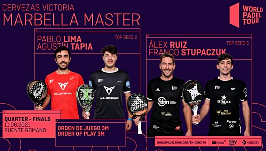 En directo los cuartos de final masculinos del Cervezas Victoria Marbella Master 2021